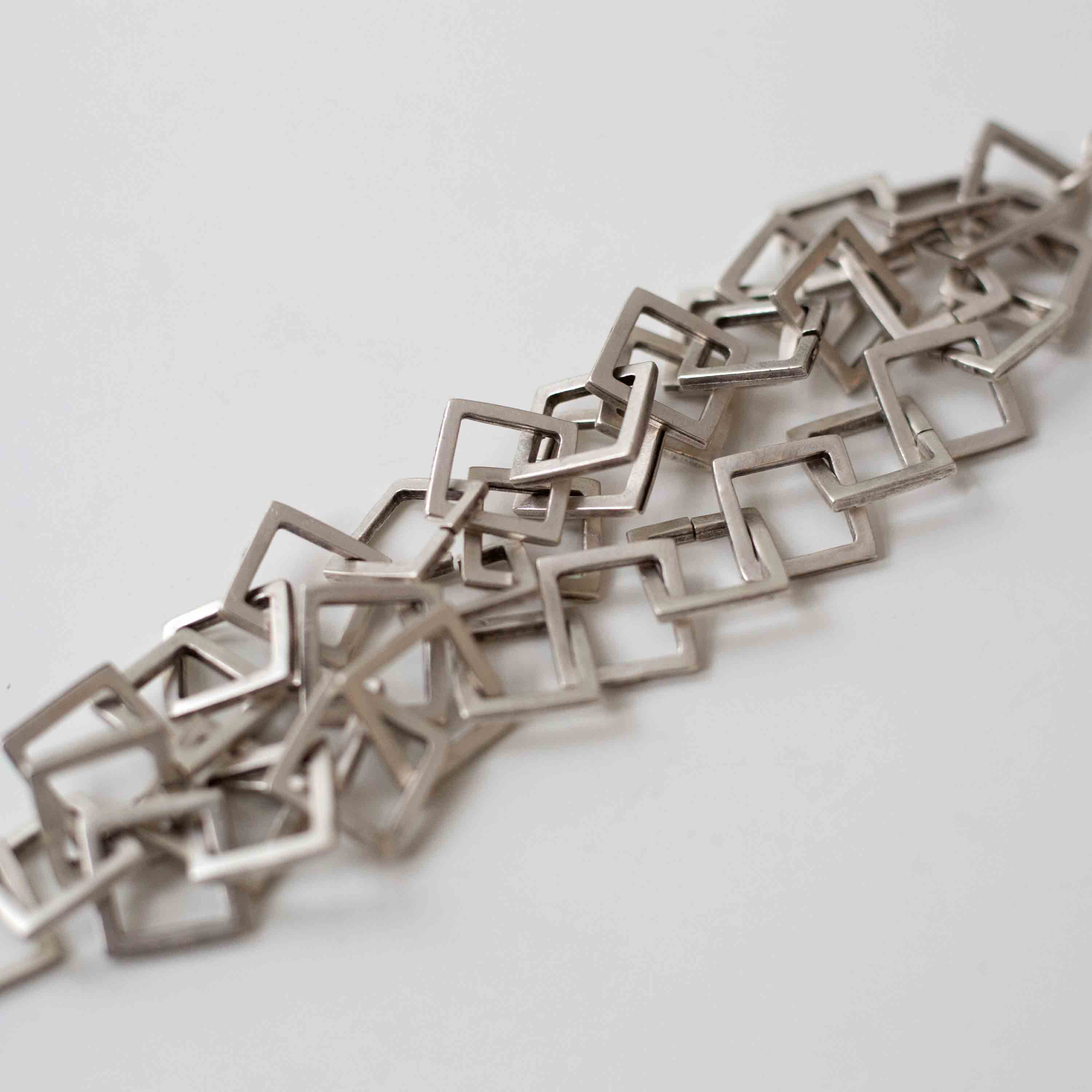 Pewter/silver handmade artisan layered square loop bracelet Antique silver plated Nickel free Hypoallergenic S hook clasp