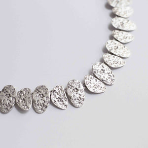 Pewter/silver handmade artisan textured irregular oval necklace Antique silver plated Nickel free Hypoallergenic S hook clasp