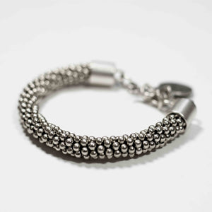 Pewter/silver handmade artisan braided bracelet Antique silver plated Nickel free Hypoallergenic S hook clasp