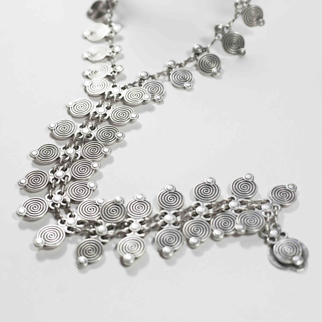 Pewter/silver handmade artisan coil patterned zipper necklace Antique silver plated Nickel free Hypoallergenic