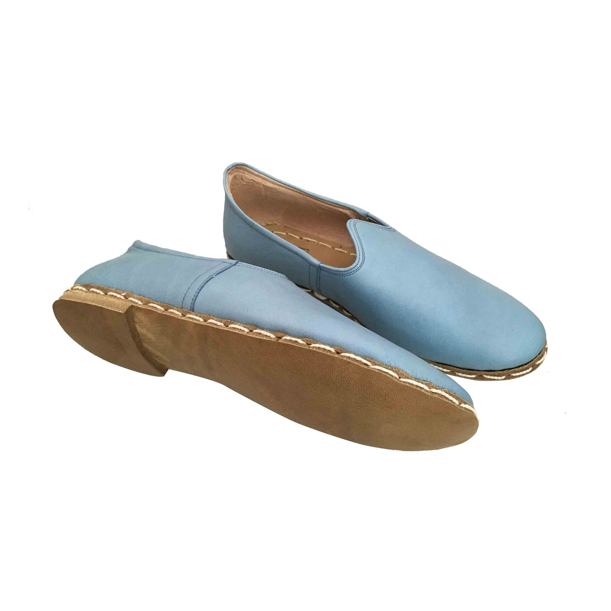 Powder blue traditional Turkish artisan handmade soft and comfortable lamb leather slip-ons Available for both women and men