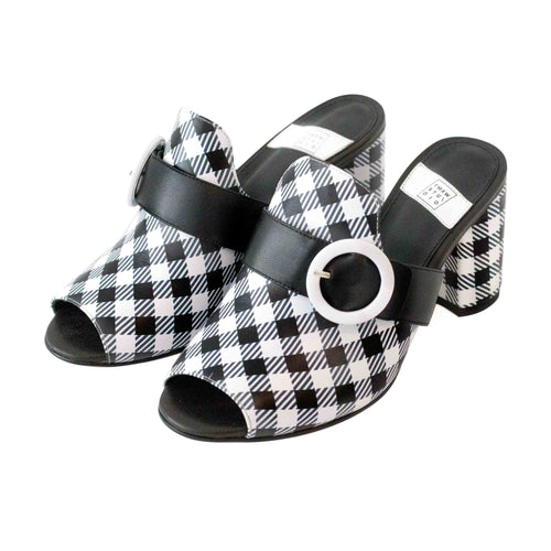 Black and white gingham check pattern printed leather round toe chunky heel mule with round buckles Calf skin leather Soft Nappa leather lining and sock, Genuine leather outsole, 4mm Memory foam padded insole Size 6 to 11 Half size available