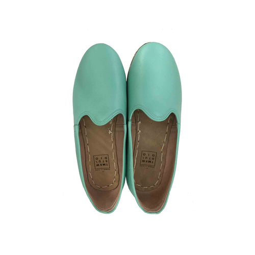 Sea green traditional Turkish artisan handmade soft and comfortable lamb leather slip-ons Available for both women and men