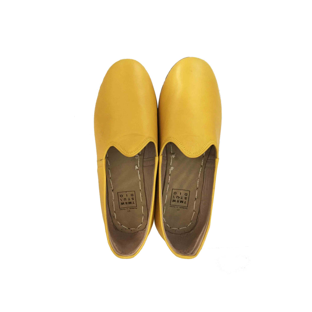 Sunflower yellow traditional Turkish artisan handmade soft and comfortable lamb leather slip-ons Available for both women and men