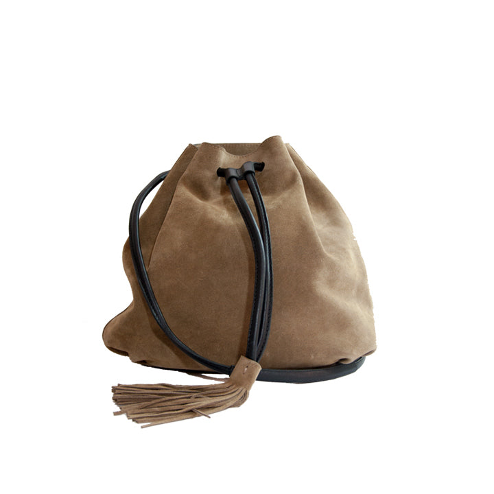 Brown Suede Tassel Bucket Bag