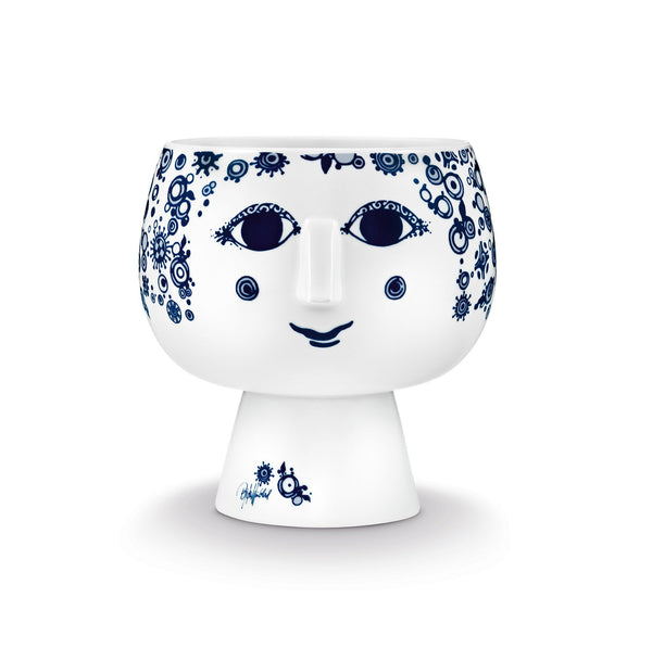 Flower Pot w/Foot, Juliane - Blue, 6.3""