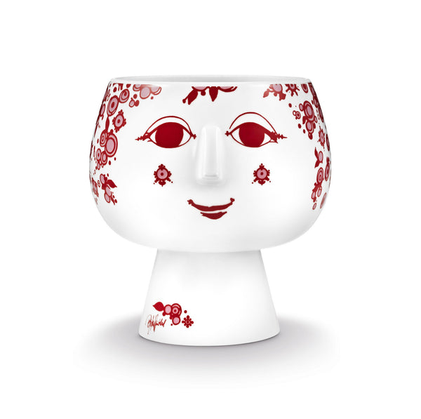 Flower Pot w/Foot, Juliane - Red, 5.5""
