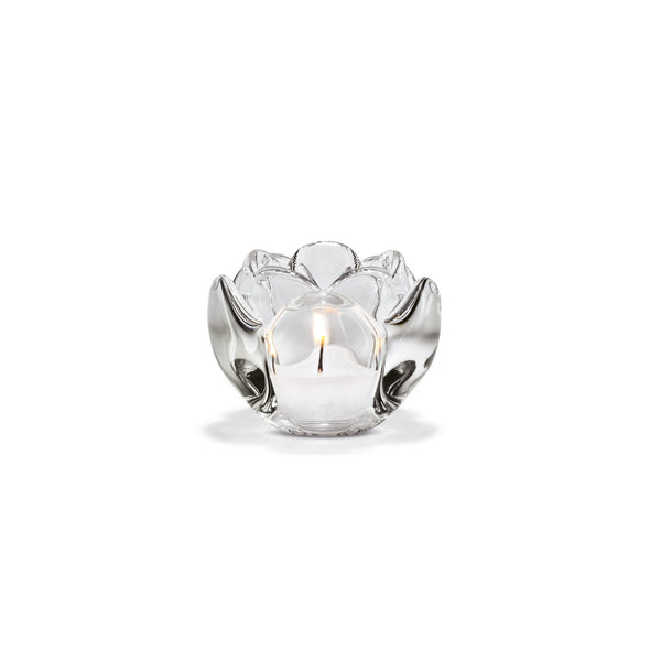 Lotus Tealight Holder, Clear, 2.6""