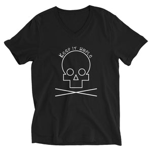 Keep it simple - Skuuullll - Black V-Neck T