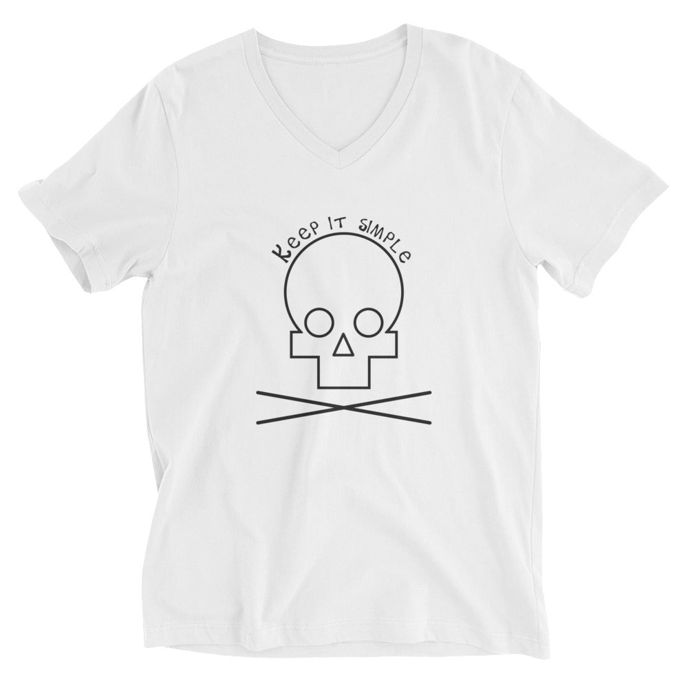 Keep it simple - Skuuulllll - White V-Neck T