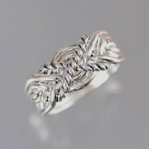 6-Twist 12-Gauge Sterling Silver Puzzle Ring
