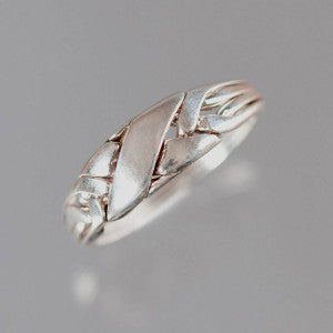 4-Wide 14-Gauge Sterling Silver Puzzle Ring