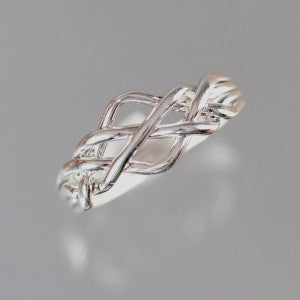 4-Band Open 14-Gauge Sterling Silver Puzzle Ring