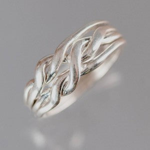 4-Chain 12-Gauge Sterling Silver Puzzle Ring