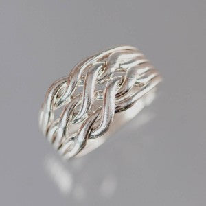 6-Chain 12-Gauge Sterling Silver Puzzle Ring