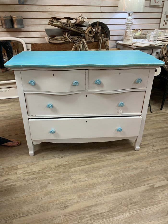 White Shabby Chic Chest with Shell Drawer Pulls