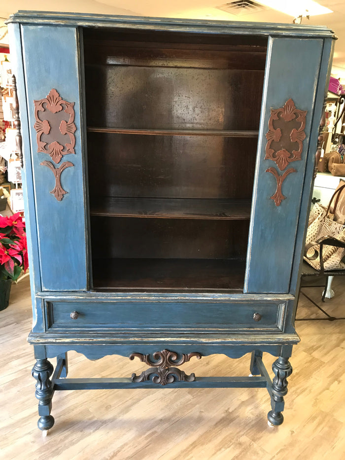 Antique Blue China Cabinet