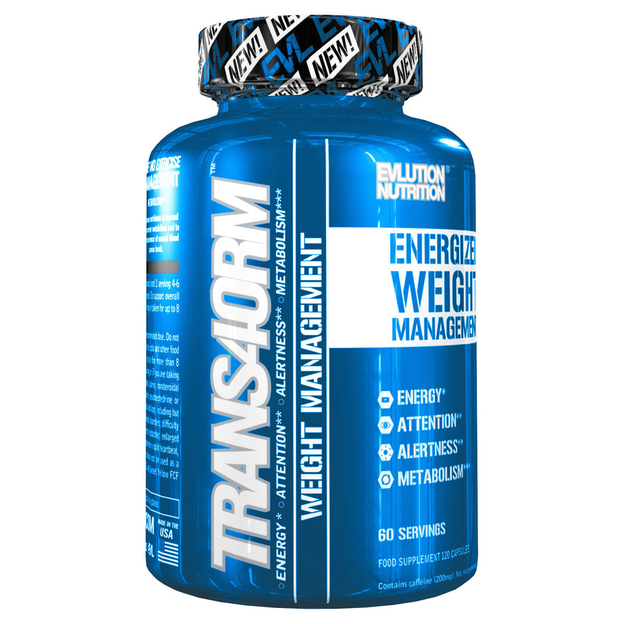 Evlution Trans4orm Fat Burner, Thermogenic Energy, Supports, Weight Loss, Energy and Focus for Men or Women 60 Serving Capsules