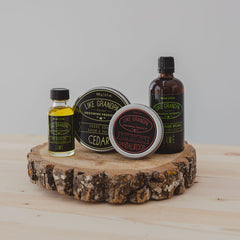 Shaving gift pack with Pre-Shave Oil, Shave Soap, After Shave Balm, and After Shave Splash.