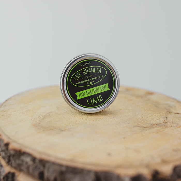 Lime Beard Balm for facial hair. All-natural balm in a tin.