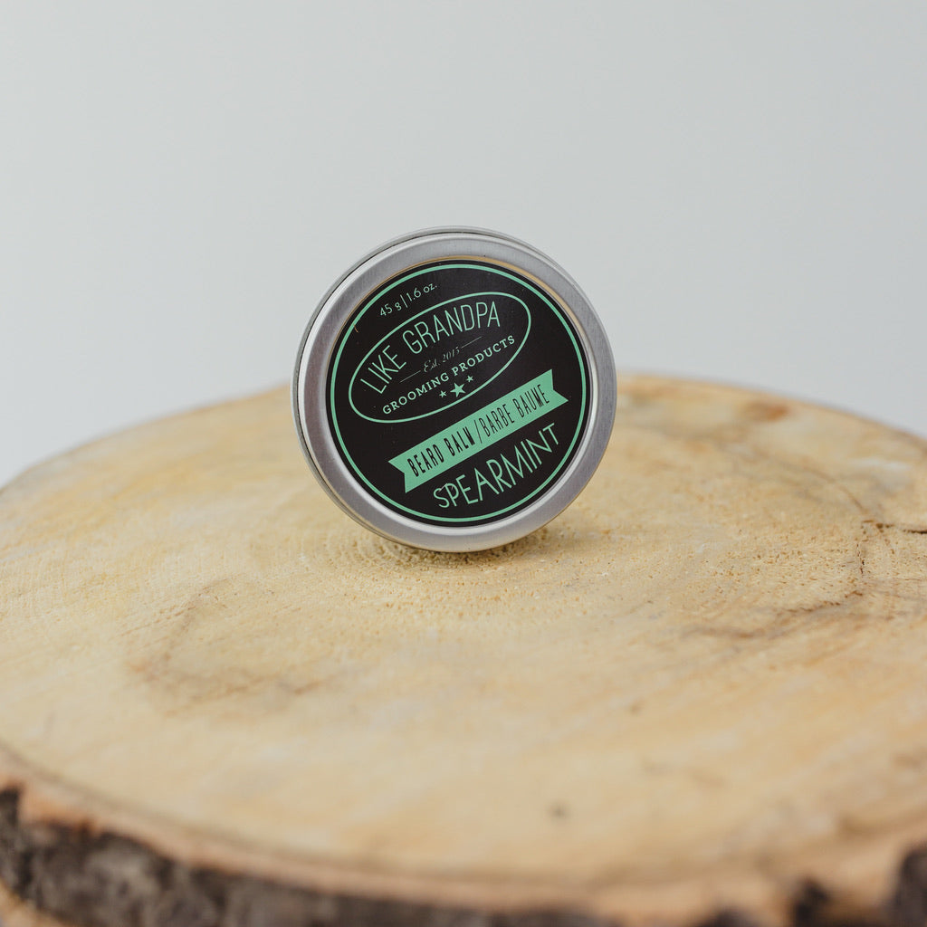 Spearmint Beard Balm in a 2oz tin.