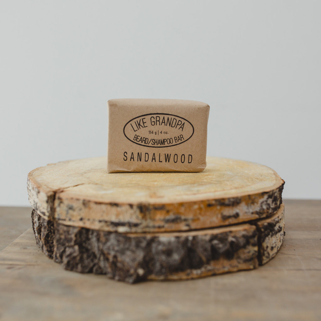 Natural Sandalwood Shampoo Bar. Hair or beard.