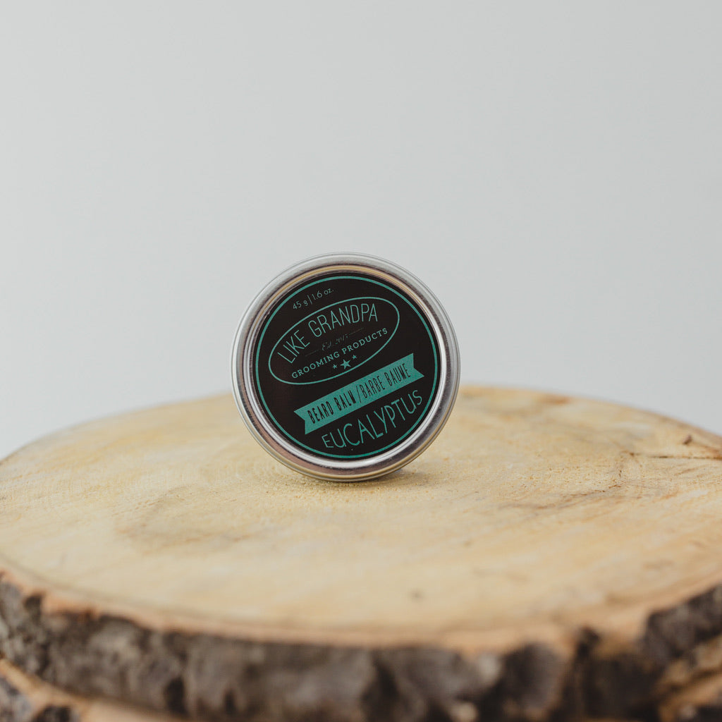 Natural Beard Balm for beard hair, eucalyptus scented and in a tin.