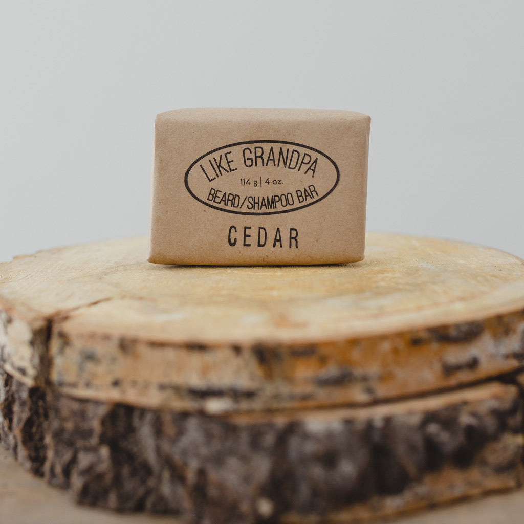 All-natural, Cedar Shampoo Bar. For hair or beard.