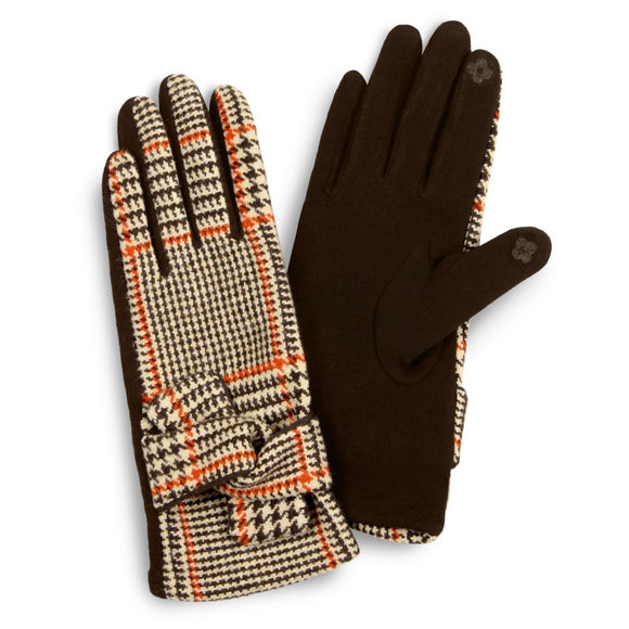 Pumpkin Plaid Smart Touch Gloves