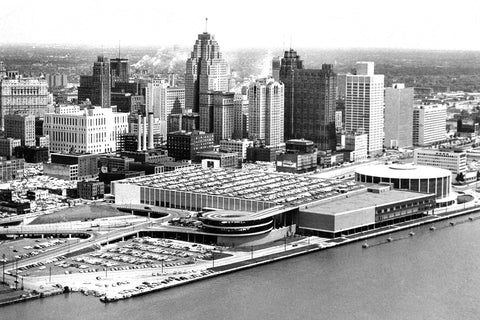 Aerial Above Detroit Skyline (1962)