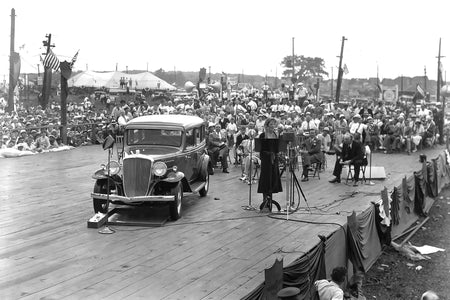 Amelia Earhart Launching Essex Terraplane Car (1932)
