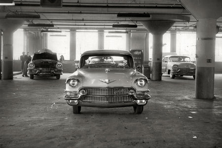Cadillac on Display in Parking Garage (1955)