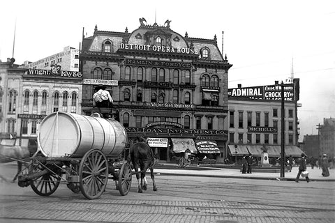 Horse Drawn Wagon in Front of The Detroit Opera House (1922)