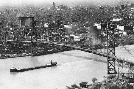 Aerial of Ambassador Bridge & Downtown Detroit - Downtown Windsor