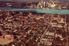 Aerial of Windsor, Ontario (1960) - Canvas Print