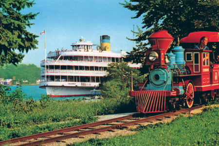 Boblo Island Train With Ferry In Background - Canvas Print