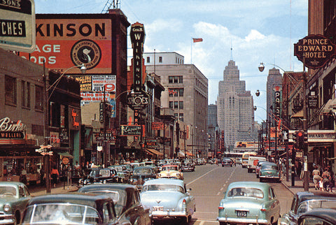 Cars on Ouellette Avenue in Colour (1950) - Downtown Windsor