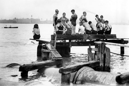 Kids Swimming Off Sewer Pipe (Detroit River) - Walkerville