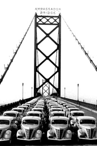 Lincoln-Zephyr Fleet Lined Up on Ambassador Bridge (1936) - Canvas Print