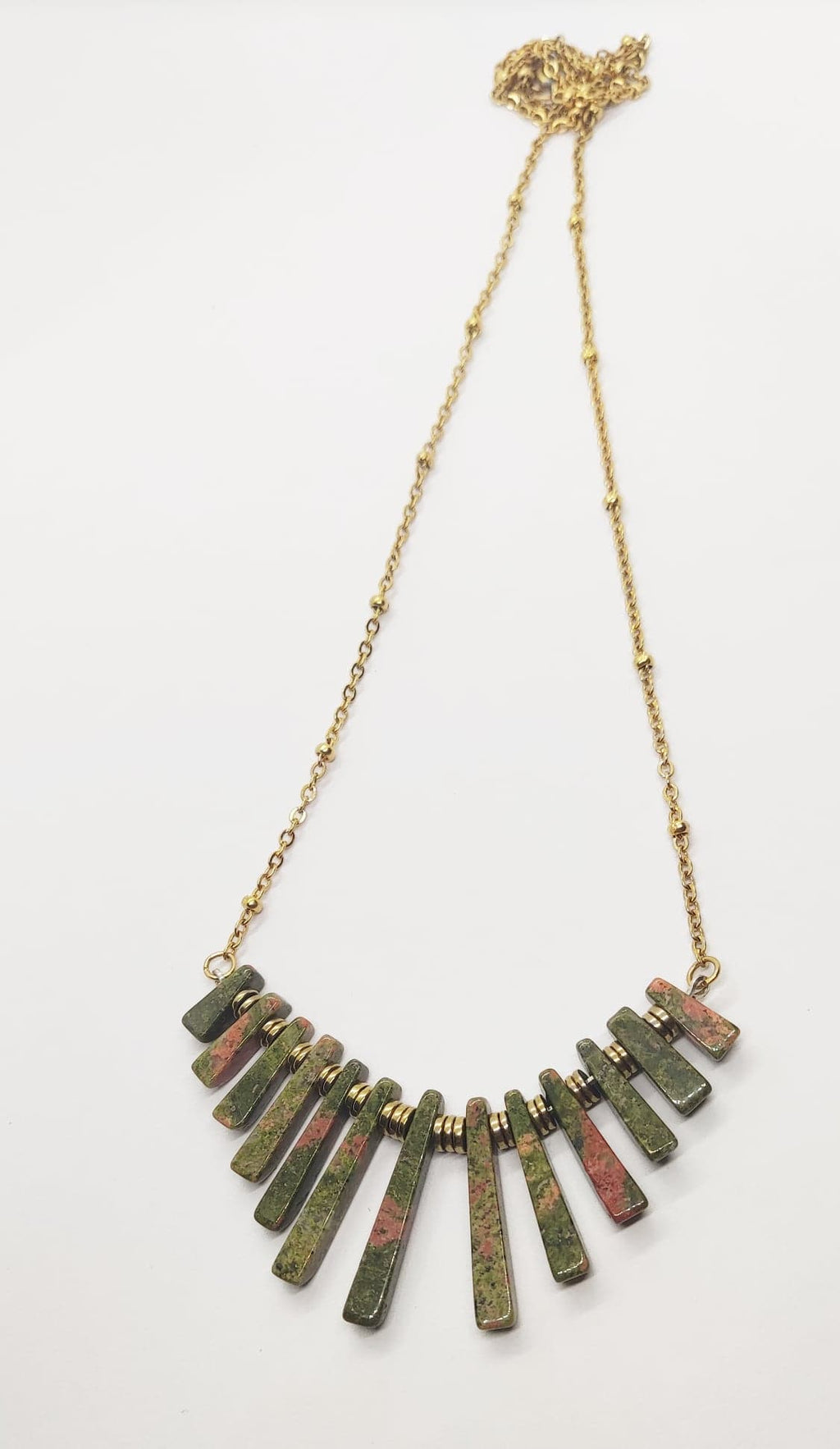 Green and pink ukaite necklace