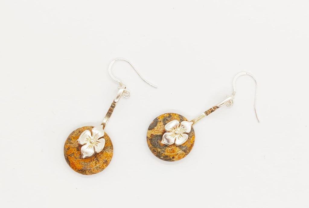 Leopardskin Rhyolite silver earrings
