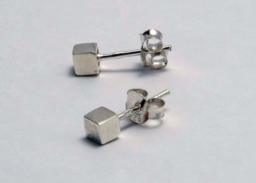 Sterling Silver Cube Studs