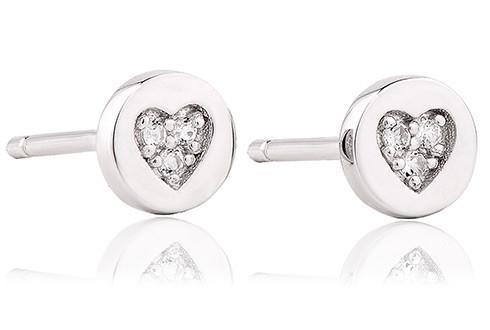 Grace Silver Circle Heart Studs