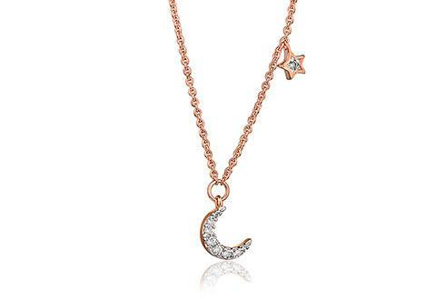 Grace Rose Moon and Star Necklace