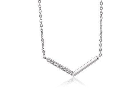 Kara Silver Chevron Bar Necklace