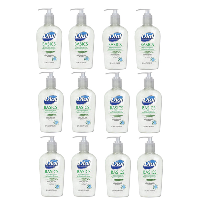 Dial Basics Hypoallergenic Liquid Hand Soap 7.5 Oz, 12 Pump-Bottles