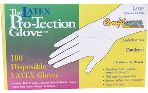 Comfitwear Disposable Latex Gloves, Pre-Powdered, Box of 100