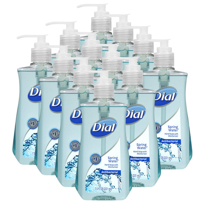 Dial Antibacterial Liquid Hand Soap, Spring Water, 7.5 oz, 12 Bottles