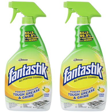 Fantastik Disinfectant All-Purpose Cleaner, Lemon, 32oz, 2 Spray Bottles