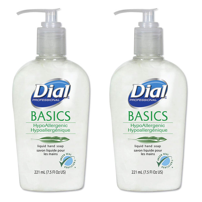 Dial Basics Hypoallergenic Liquid Hand Soap 7.5 Oz, 2 Pump-Bottles